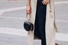 With gray shirt, skinny pants, red flat shoes and mini bag