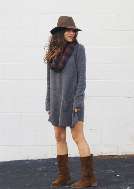 With gray sweater dress, brown hat and plaid scarf
