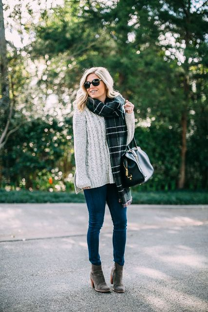 With jeans, gray suede ankle boots, plaid scarf and black bag
