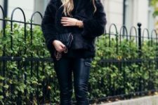With leather pants, leather chain strap bag and fur jacket