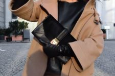 With leather shirt, beige coat, beige mini skirt and clutch