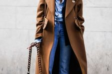 With light blue shirt, scarf, brown midi coat, chain strap bag and shoes