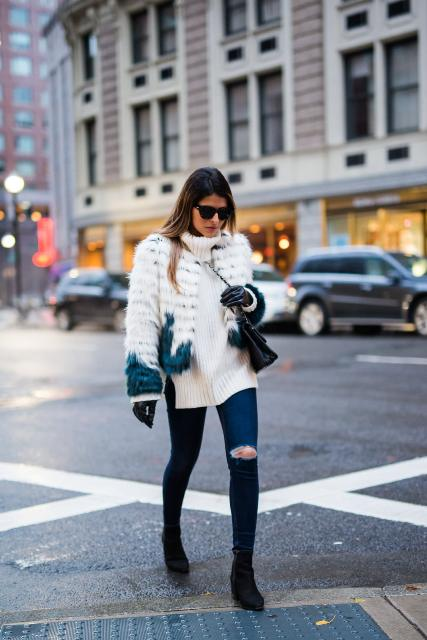 With long sweater, ombre fur jacket, distressed jeans, black boots and chain strap bag