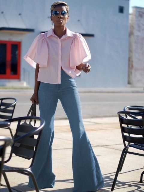 With pale pink cropped blouse and tote bag