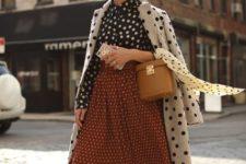 With polka dot blouse, polka dot midi skirt, two colored shoes and brown bag