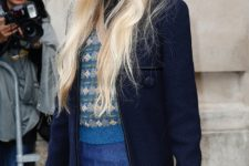 With printed sweater, denim midi skirt and navy blue bomber jacket