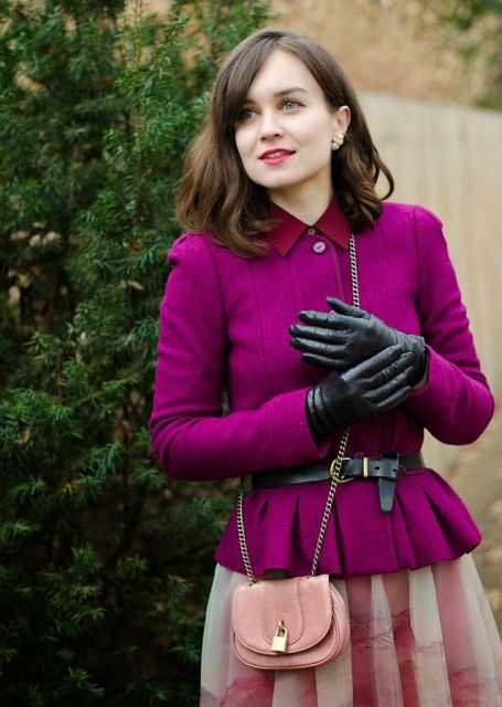 With purple jacket, black belt, ombre skirt and pale pink mini bag