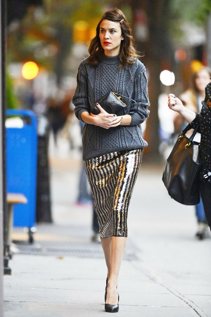 With sequin midi skirt, black clutch and pumps