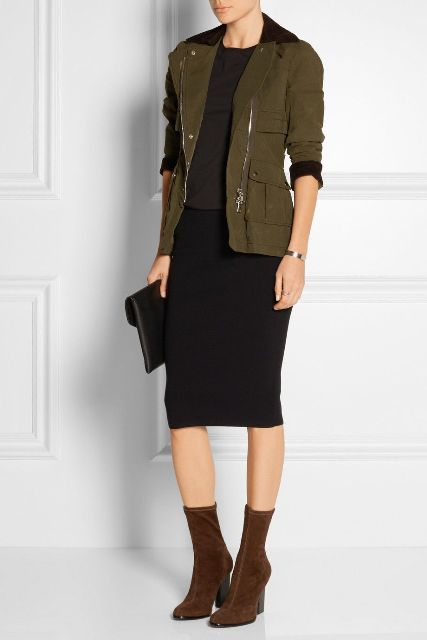 With shirt, black pencil skirt, black clutch and olive green jacket