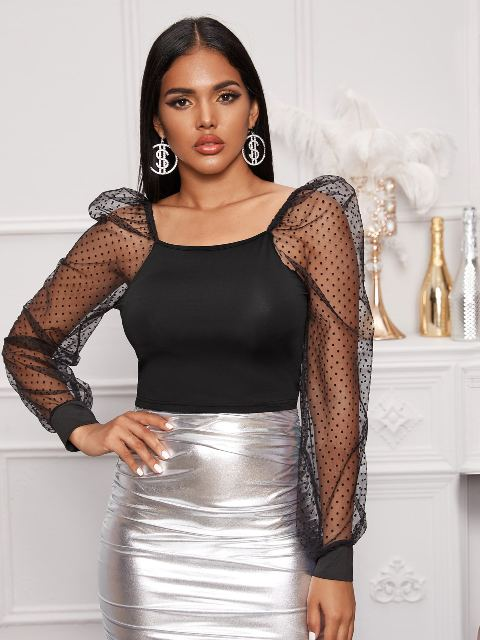 With silver high-waisted pencil skirt