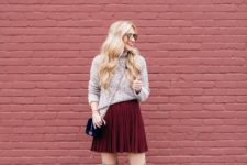 With sweater, gray suede over the knee boots and black chain strap bag