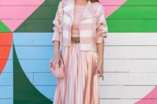 With top, belt, white and pink striped jacket, pastel colored shoes and bag