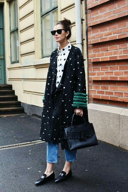 With white and black polka dot button down shirt, cropped jeans, black leather bag and black flat shoes