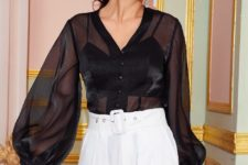 With white belted high-waisted wide leg pants