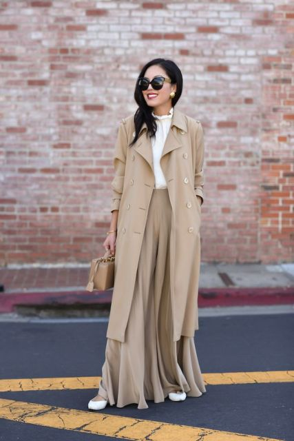 With white blouse, beige maxi skirt, white shoes and beige bag