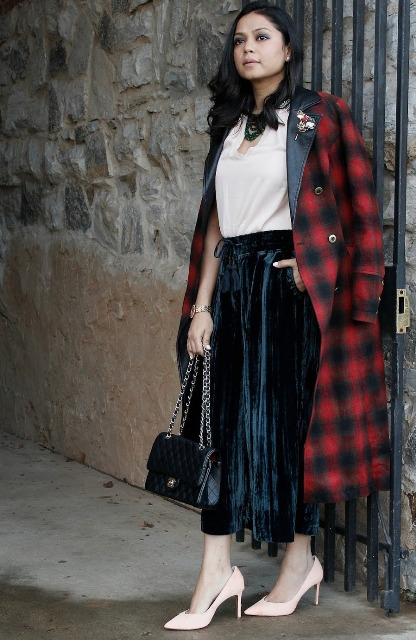 With white blouse, plaid midi coat, chain strap bag and pastel colored pumps