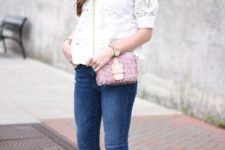 With white lace shirt, cropped jeans and pale pink mules