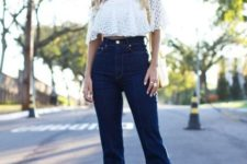 With white off the shoulder cropped top and platform shoes