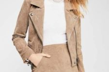 With white shirt and beige suede jacket