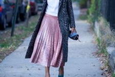 With white shirt, blue shoes, mini clutch and printed midi coat
