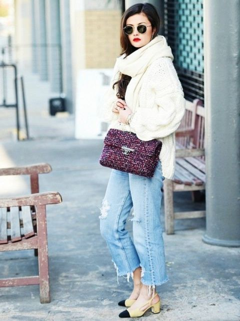 With white sweater, cropped jeans and two colored shoes