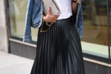 With white t-shirt, denim jacket and heels