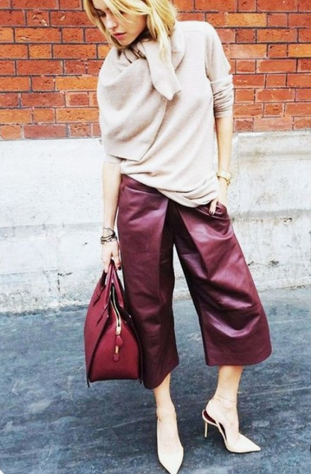 a blush cashmere sweater, burgundy leather culottes, blush shoes and a red bag for a fall outfit