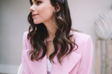 a colorful confetti-like padded headband is a like a huge tiara that adds fun and charm to the look