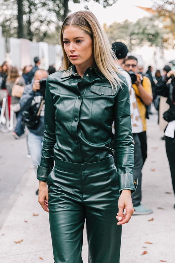 a dark green leather shirt and matching pants compose one of the hottest looks for this spring