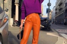 a super bold outfit with a fuchsia crop sweater and hot pink shoes plus orange leather pants