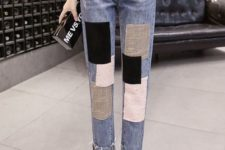 abstract applique jeans, a white long sleeve top and white slipons – such jeans require neutrals around