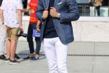 02 a navy top, a blue blazer, white jeans and white sneakers for a pretty spring look
