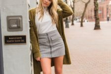 02 a white turtleneck, a printed mini, an olive green cardigan, blakc platform shoes for spring