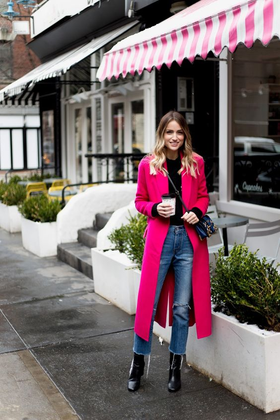 a black top, blue straight jeans, black booties, a hot pink coat and a crossbody for a casual Valentine look