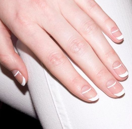 a creative double tip French manicure looks graphic and really modern and bold