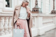 03 a white sweater, a pink pleated midi, pink floral shoes, a camel coat and a grey tote
