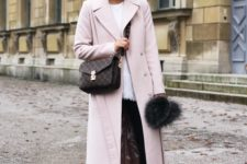 03 a white top, black skinnies, white platform shoes, a blush coat and a brown printed bag