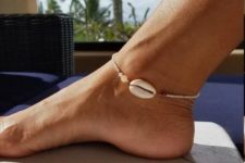 04 a delicate beaded anklet with a large shell is a nice idea for this summer, try one