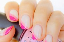 04 a diagonal double tip French manicure done in bold pink shades for those who love color