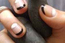 06 a double tip Frnech manicure with black and white elements is a modern and fresh idea to wear this classics