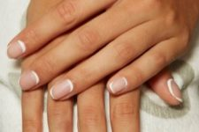 07 a French manicure with a double tip is a cool idea to rock in 2020, a trendy way to wear French nails