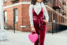 08 a crochet lace top, a burgundy velvet overall, nude spiked shoes, a pink heart-shaped bag