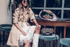 09 a white lace knee dress, white boots, a camel trench for a girlish spring look