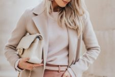 10 a neutral work look with a white top, pink pants, a neutral coat, a neutral bag and statement earrings