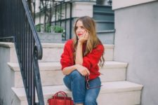 10 a red oversized sweater, blue straight jeans, red suede flats, a red bag for Valentine's Day