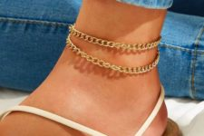 11 a double chunky gold chain anklet is a trendy idea just like all chunky chains now