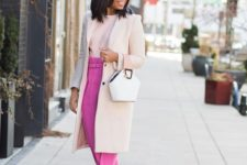 12 a creamy top and coat, hot pink pants, blush shoes and a white bag for a working Valentine's Day