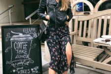 12 a dark floral midi dress, a black leather jacket, a black bag and black boots for a bold look
