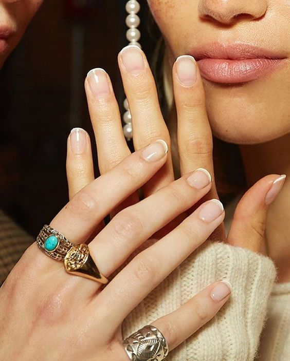 a micro French manicure is a stylish and subtle idea to wear this classic idea any time