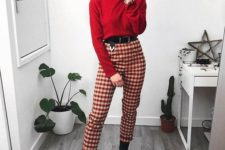 13 a red turtleneck sweater, red plaid pants, black boots for a casual and warm Valentine look